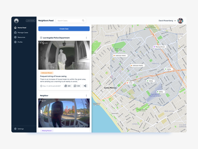 Ring Neighbors Feed Exploration fintech map feed web app