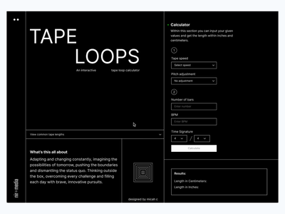 Tape Loop - Calculator swiss style landing page single page design