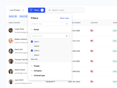 Filtering Component + Table Exploration crm minimal air table airtable toggle view table search bar dropdown component flow filter pop out filter menu menu user interface filter table filter system filtering e-commerce web application