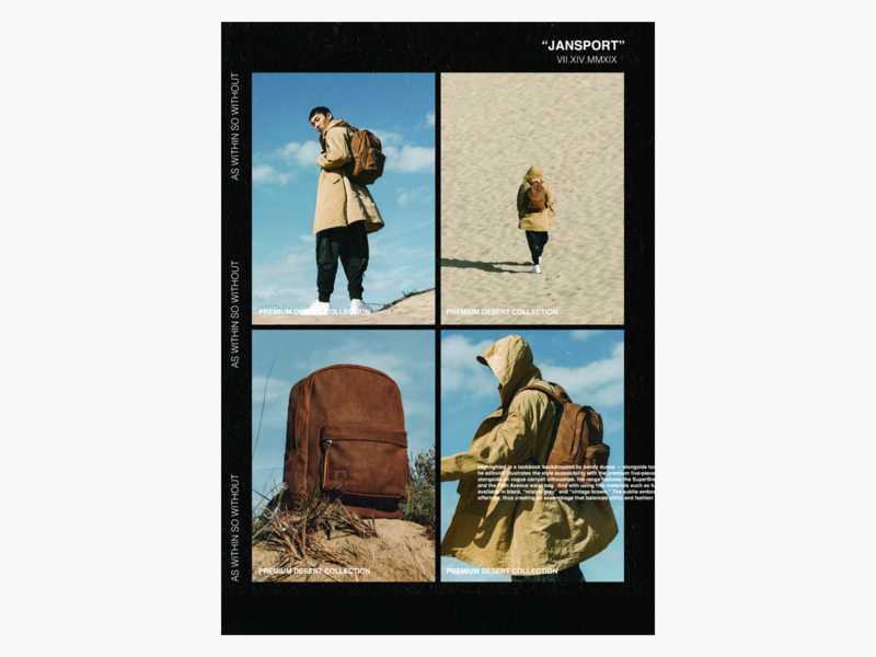 Jansport Premium Desert Collection - Poster Concept. product launch minimal jansport offwhite poster hypebeast