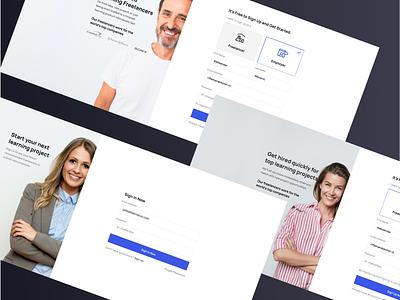 Learnexus.com - Sign up process social sign up figma elearning freelancers signup freelancer design landing ui web interface ux