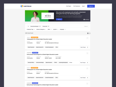 Learnexus - FInd Projects freelancers job figma search results uidesign search engine search freelancer landing project employer elearning ux interface uiux ui banner