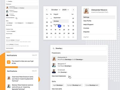 Learnexus - Widgets & Drops notification pop over components ui kit avatar widgets search widget interface ui ux