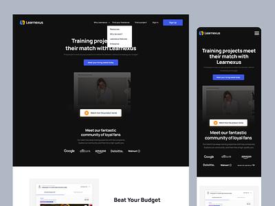 Learnexus.com - 2.0 Visual lms training hiring interface web uiux ui social search developer develop course elearning employer freelancer figma job landing