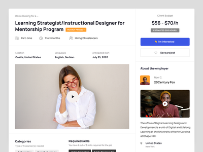 Learnexus.com - Project details 2.0 search job employer freelancer budget houlry interface uiux ui web design project dashboard responsive details project learning
