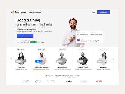 Learnexus - Talents job figma freelancers ux interface social facilitator developer landing design web elearning talent search
