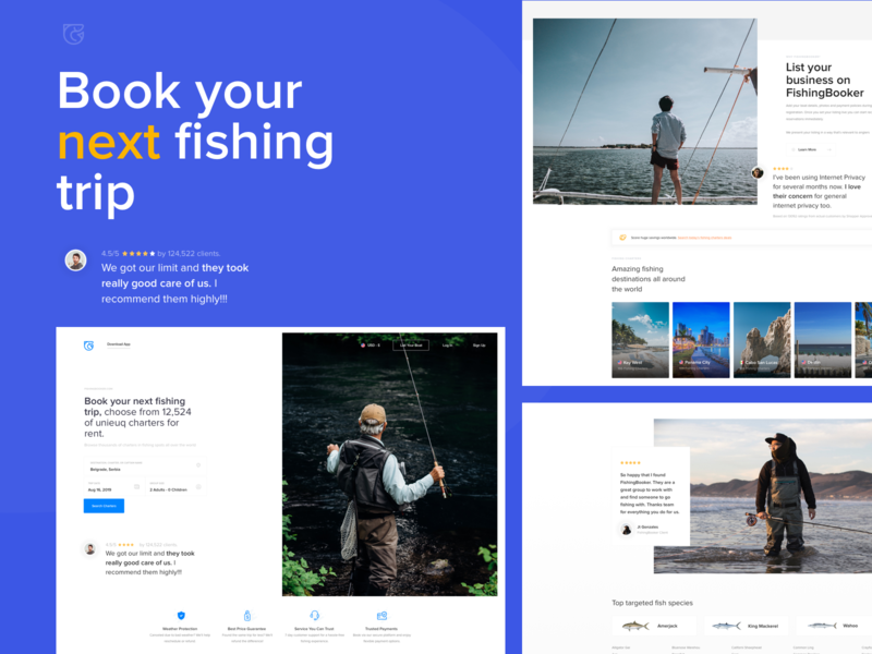 FishingBooker.com Concept - Alternative Search search boats boat fish ui interface ux web design booking fishing travel landing