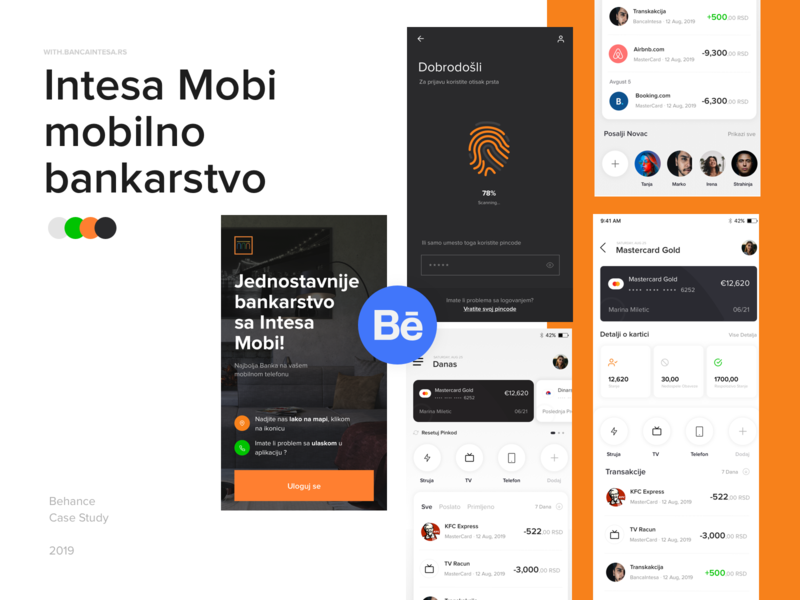 Bankaintesa Concept - Case Study ios mobile ux ui interface bank banking app banking location finance app