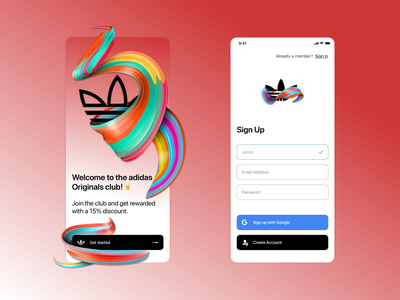 UI Challenge #001 • Sign Up ios challenge log in account create ux ui app email originals adidas sign in sign up