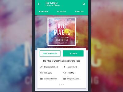 Concept app for audiobooks buy magic big book audio flat ux ui app design material