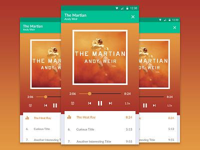 Concept app for audiobooks player flat book audio ux ui material design app