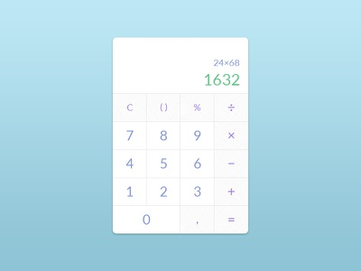 Concept calculator design minimal widget ux ui calculator