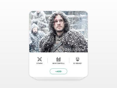 Daily UI Challenge #006 - User Profile add snow jon profile user challenge ui daily