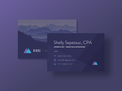 Business Cards mountains blue purple accounting tax ridge business cards