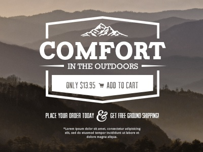 Comfort in the Outdoors vintage rustic ecommerce mountains ampersand smokey hills product add to cart