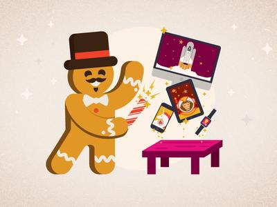 Create magic. holiday magic gingerbread man illustration mobile fuzz
