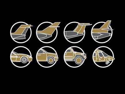Icons for luxury app gold luxury plane icons app flat