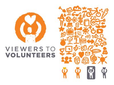 CBS - Viewers To Volunteers volunteer giving branding icons logos logo v2v cbs