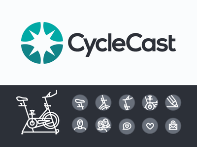 CycleCast Identity & Icons workout indoor cycling icons wheel burst energy mon cycle logo identity