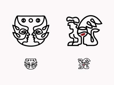 Chalice Elves & Wine Sphinx lore myth spirits wine sphinx elves identity logo