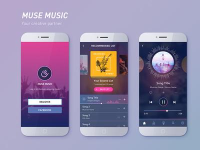 MUSE MUSIC - Music App user flow ui design player music dark gradient music app ui challenge