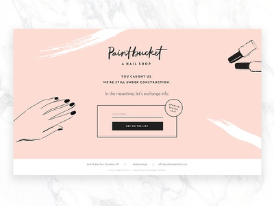 Paintbucket NYC Teaser Page nail salon shoppe theory web design makeup cosmetics freelance