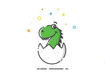 Dinoshot musli character design cartoon character flat icon cute vector line art sticker mule magnets giveaway free