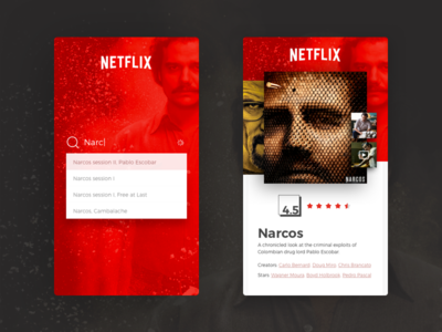 Netflix - Mobile Experience ' Re-vamped ' mobile video ux ui tv-series red playful netflix layout interface gallery experience