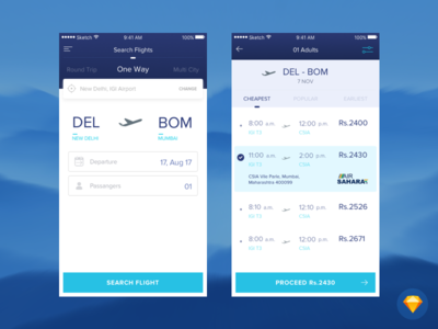 Flight Booking App ✈ airlines flight booking booking blue ux ui sky mobile app app flight