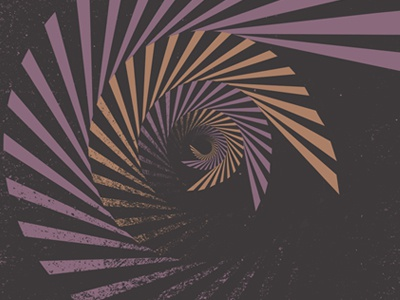 Detail from the Radiant Republic gig poster. spiral gigposter