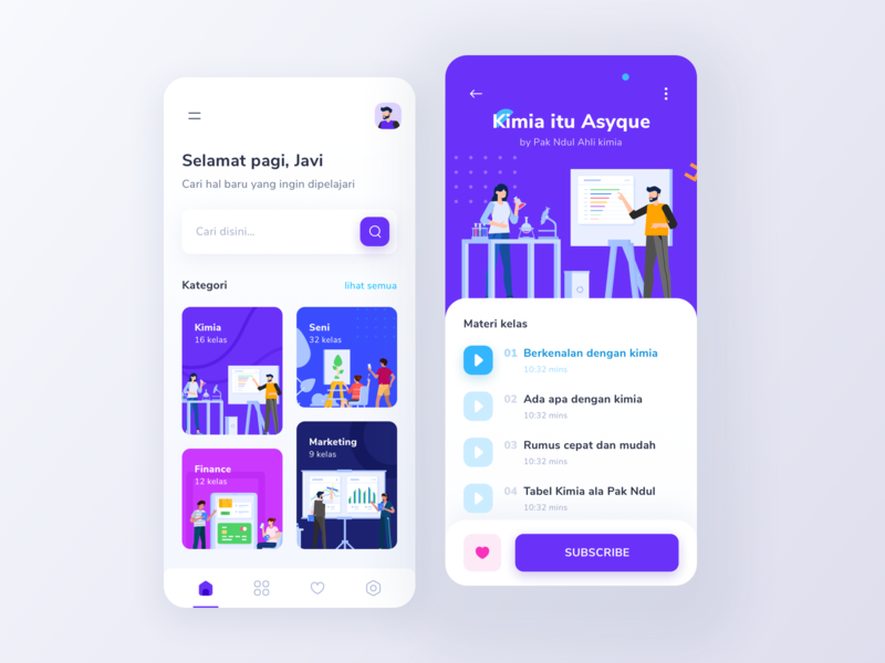 Sinau Online Course App #exploration clean mobile minimal search uidesign learning app learn student school elearning education illustration design app ux ui study course