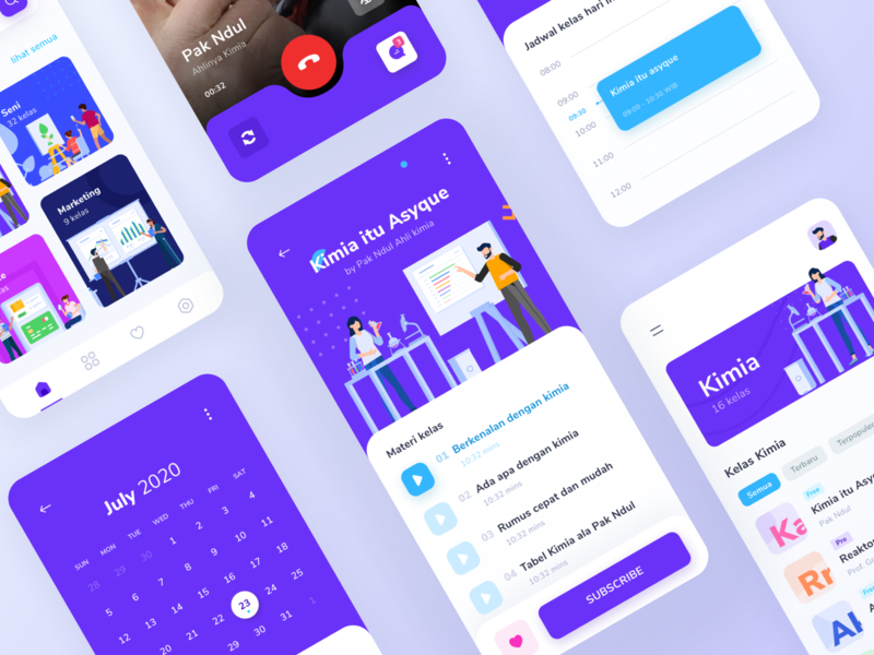Sinau Online Courses App #exploration app design illustration kit schedule ui design ui  ux student education video call school study learning ux minimal clean ui illustraion mobile app courses course