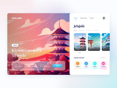 Doland Itinerary Travel Planner landing page design travelling travel app app website vacation ux ui design traveling clean minimal illustration planner travel itinerary