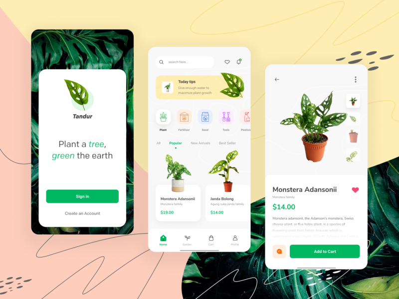 Tandur Plant ecommerce shop android ecommerce garden greenery mobile ux minimal ui app clean fresh green plant