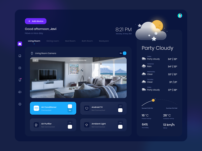 Pinter Life | Smart Home App landing website control cctv dashboard mobile minimal ui clean dark ui weather app home smart smarthome