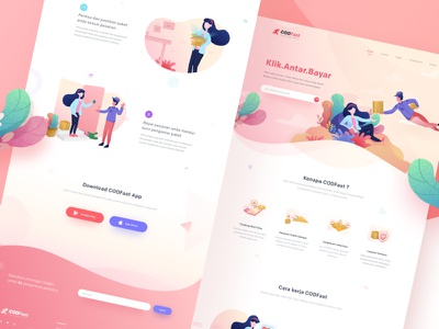 COD Fast Landingpage. service cash on delivery shipping web landing illustration debut hero delivery creation of adam clean app