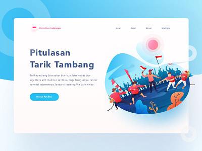 Tarik Tambang sport design web landing independece indonesia hero ux illustration