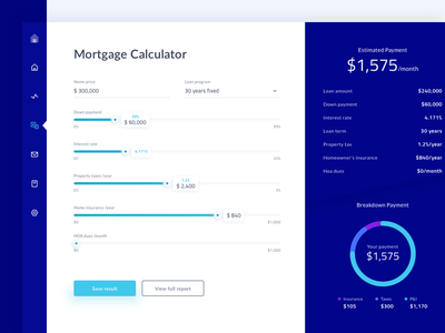 Mortgage Calculator Dashboard #Exploration app payment minimal finance dashboard ui loan property calculator mortgage