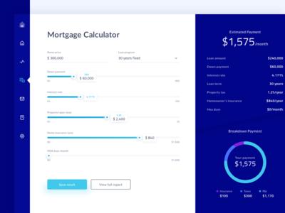 Mortgage Calculator Dashboard #Exploration app payment minimal finance dashboard ui loan property calculator mortgage