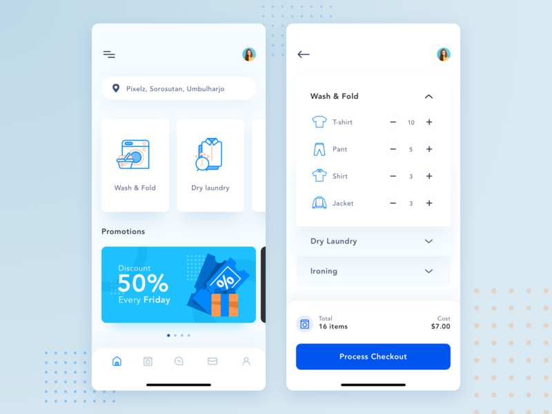 Laundry app ui order landing android ios mobile minimal icon washing clean app laundry