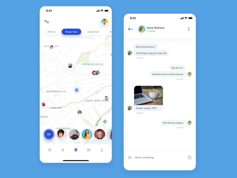Remoteen - Remote team management location map finder ios mobile minimal management chat team remote app ui