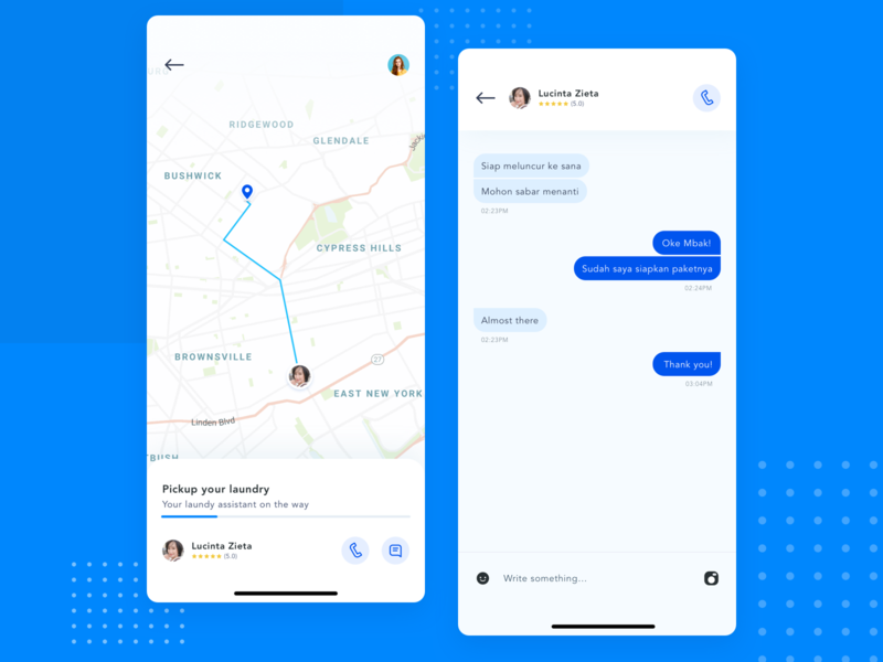 Laundry app  - tracking and chat home service clean smarthouse services location map chat app laundry
