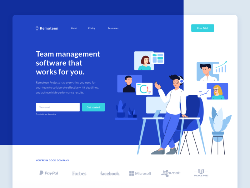 Remoteen Landingpage character video conferencing chat project management task management remote work clean dashboard ui landing page ui startup people homepage landingpage typography app branding ui design mobile illustration