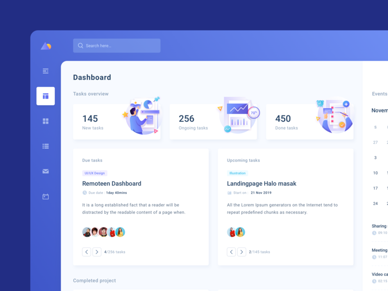 NataProject Task and Project Management chat app hr software clean organizer webapp website illustration ui design dashboad task app task management task manager project management