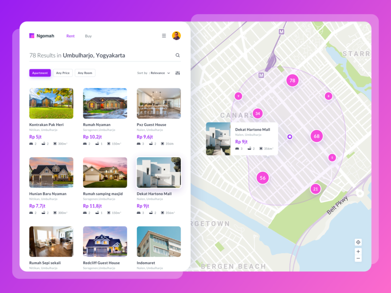 Ngomah Property Listing marketing property management traveling booking hotel house home app rent properties ui dashboard finder listing property