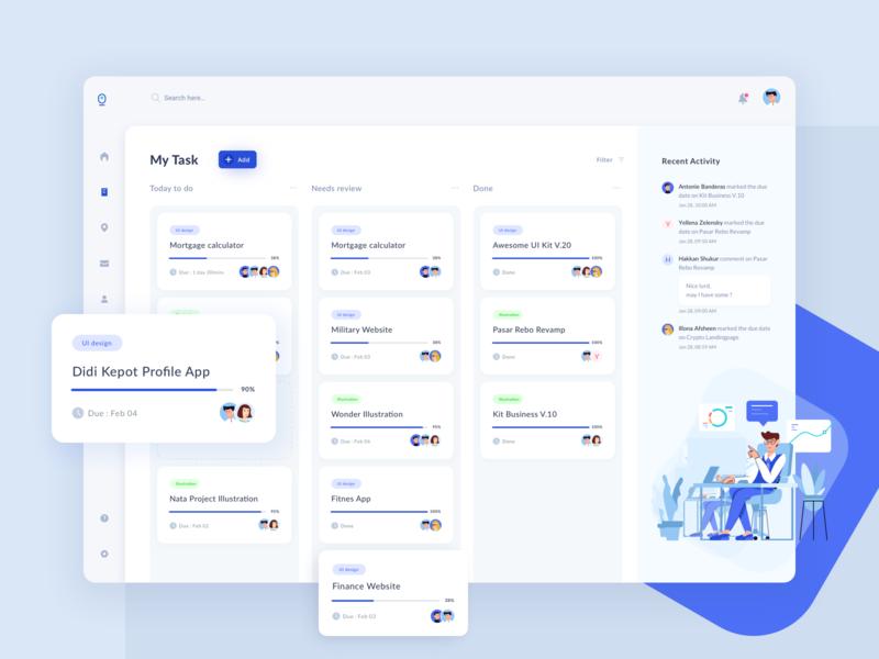 Remoteen Kanban chat progress ux clean dashboard design ui ux illustration userinterface ui task management task manager kanban