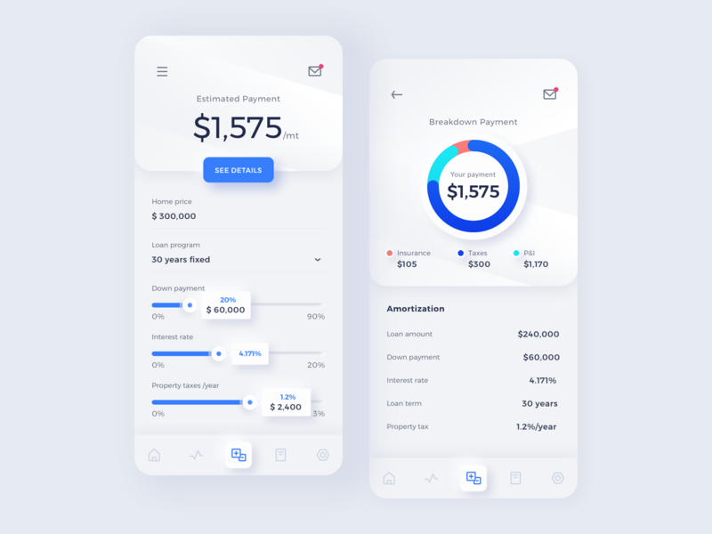 Exploration Mortgage Calculator finance payment ui mobile minimal clean android app loan app mortgage property calculator neumorphism