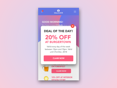 Overlay - Daily UI - Day016 deal ecommerce pop over discount daily ui dailyui 16 016