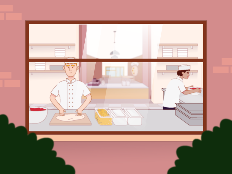 Kitchen illustration character pizza chef kitchen