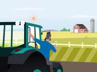 Farmer field character vector tractor farm illustration farmer